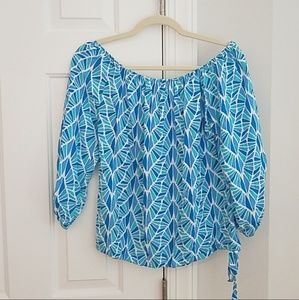 Escapada blue off-shoulder blouse xs